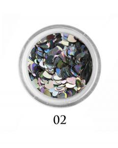 ADORE Декор для ногтей Сердце 02 (голографическое серебро)
