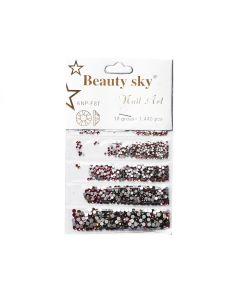 Стразы Beauty Sky Mix AB 1440 шт (розово-салатовые).